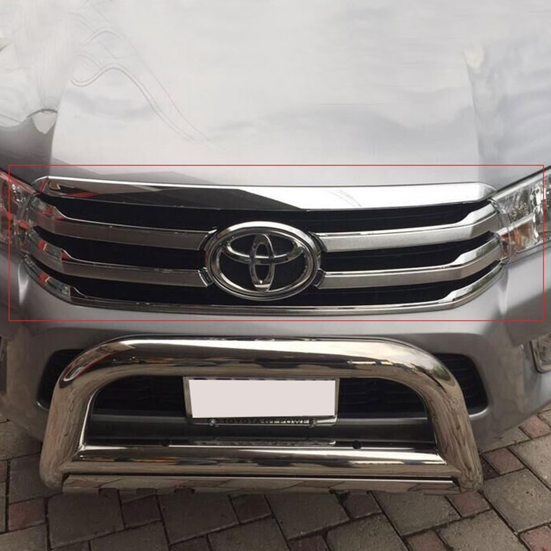 2016-2017 Chrome Front Racing Grills Cover For Toyota Hilux Revo Accessories Chrome Grille Parts For Toyota Hilux Grill Ycsunz 2016 toyota hilux revo window accessories abs chrome window gate trim for toyota hilux revo 2015 2016 chrome decoretive trim