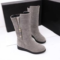 Women Snow Boots with Fur Winter Warm Fleeces Large Size Flat Shoes Wear Resistant Anti skid Solid Casual Boots with Zip Decor