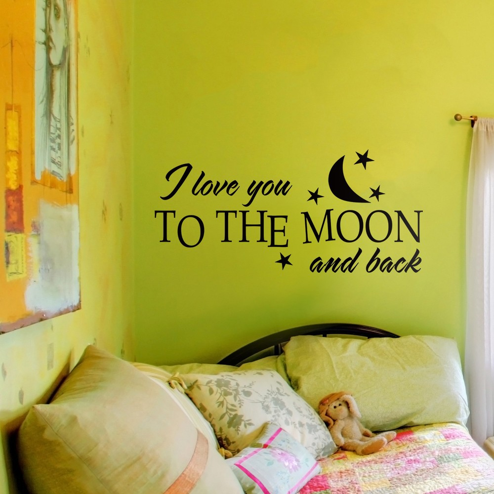 Love Quote I Love You to The Moon and Back Couple Room Valentine ...