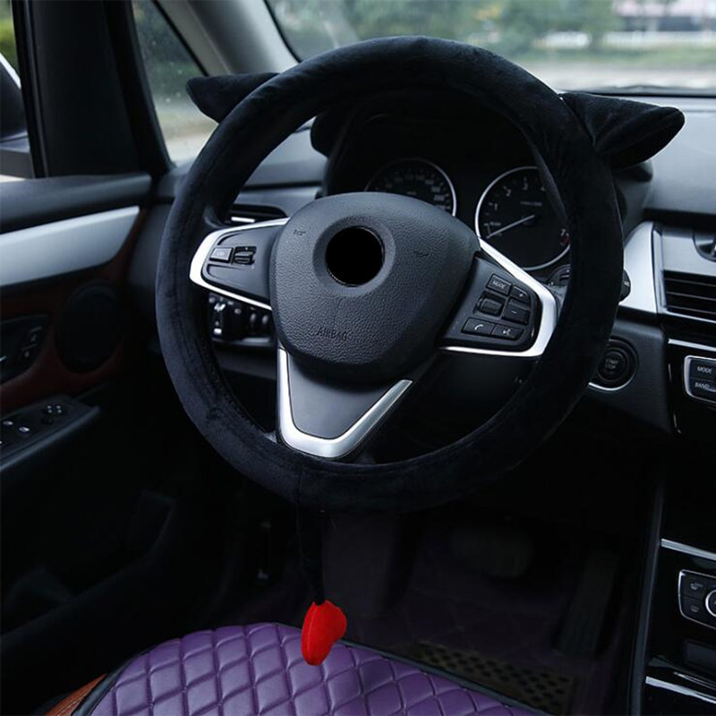 Universal 15 inch Short Flannel Embroidery Cute Car Steering Wheel Cover for Women Girls Flower - Cool Color