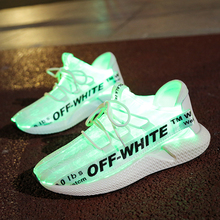UncleJerry Size 35-44 New Led Fiber Optic Shoes for men women USB Recharge glowing Sneakers light up shoes for Party and Wedding