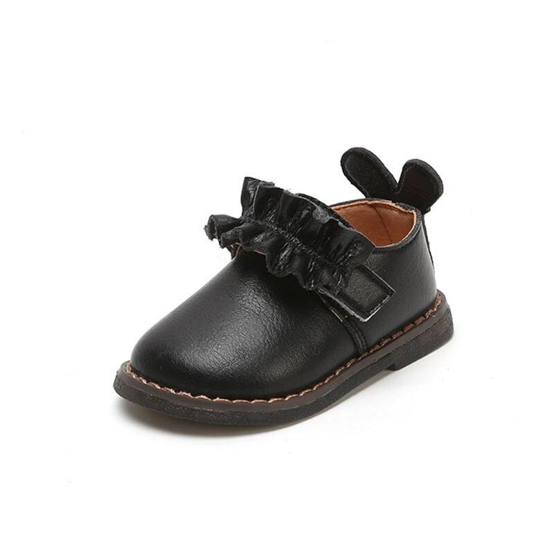 Claladoudou 11-15 CM marque bébé frange premiers marcheurs Beige fleur bande avec oreilles mignon infantile chaussures noir bambin filles rond plat