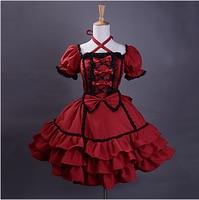Short Sleeve Knee length Wine Red Cotton Black Trim Gothic Lolita Dress