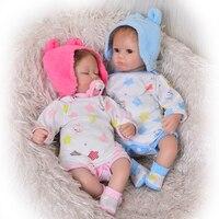 Realistic Silicone Reborn Baby Doll Twins 17'' 42 cm Baby Awake Boy+Asleep Girl Dolls Soft Vinyl Toy Fashion kids Birthday Gifts