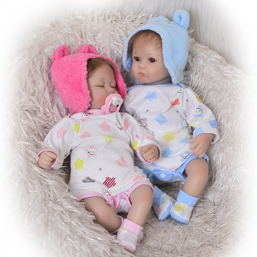 Realistic Silicone Reborn Baby Doll Twins 17 42 cm Baby Awake Boy+Asleep Girl Dolls Soft ...