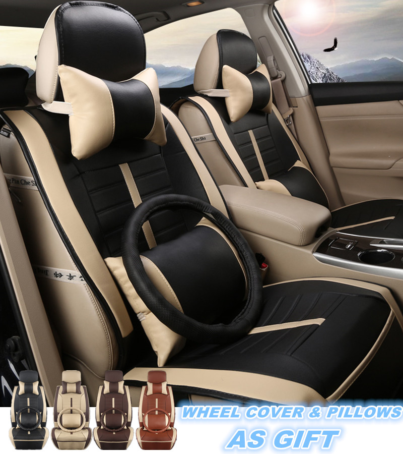 US Car Seat Cover Microfiber Leather 5 Seats Cushion Front+Rear w//Pillows Size L