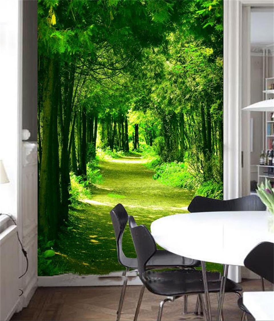 Custom 3d Photo Wallpaper Room Mural Green Forest Health