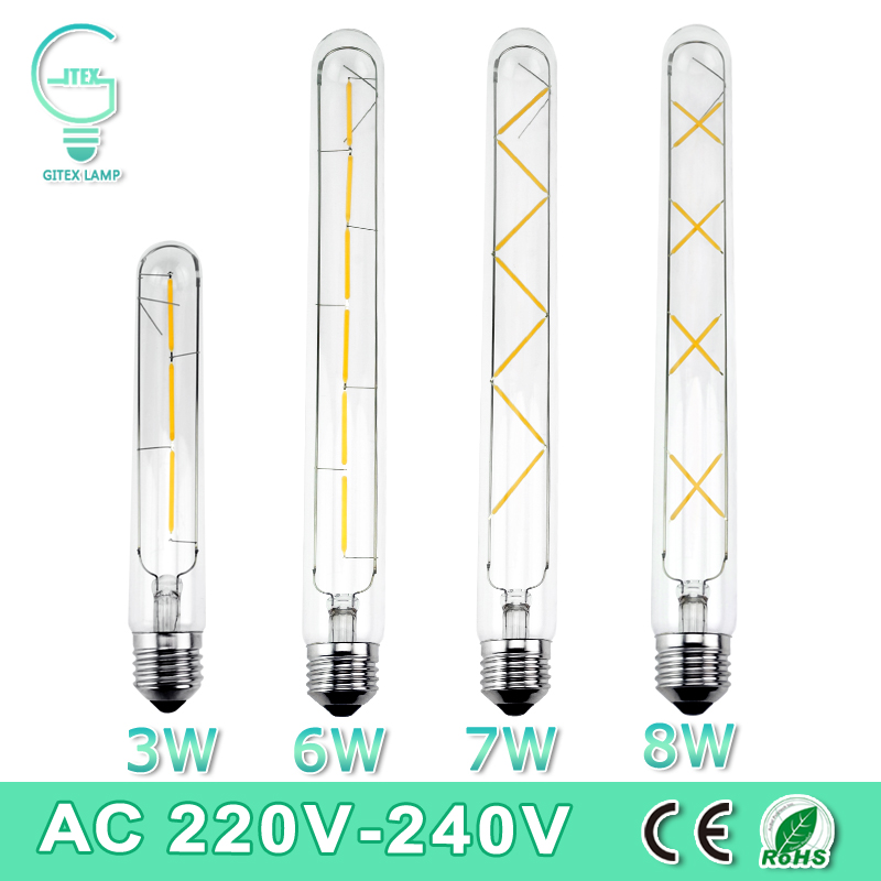 E27 Led Edison Bulb 3W 6W 7W 8W Vintage Edison AC 220V T30 COB LED Filament Light Retro Bulb