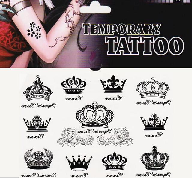 2pcs Queen Crown Princess Temporary Body Art Tattoo Sticker Anchor