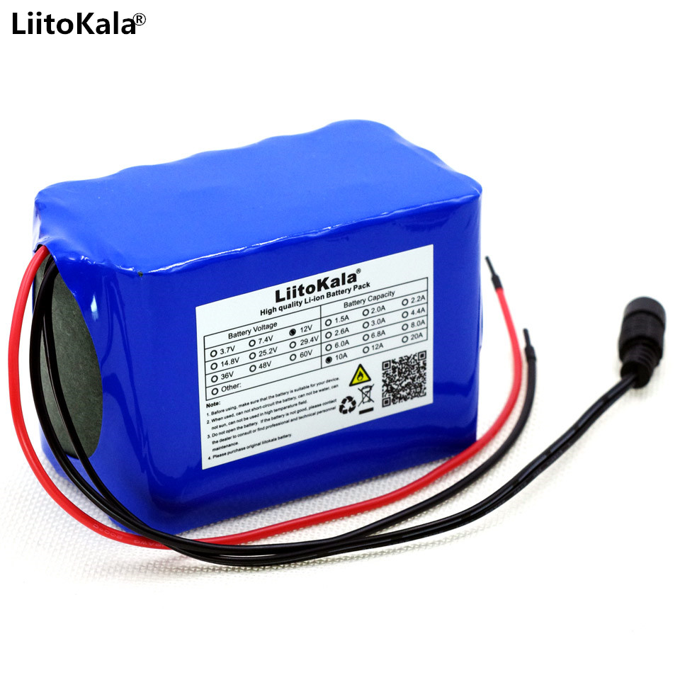 Liitokala Battery pack 100% new high capacity protection 12V 10Ah lithium battery 18650 12V 10000mAh capacity LED lighting with free shipping 502730 rechargeable brand new 3 7v lithium battery pack with high capacity 350mah for multi functional use