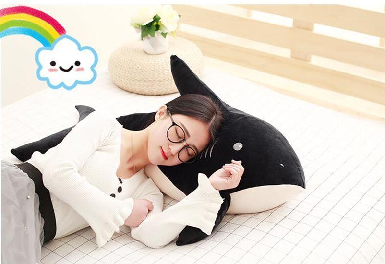 Grand peluche noir requin jouet en peluche requin doux oreiller poupée cadeau environ 90 cm 2579