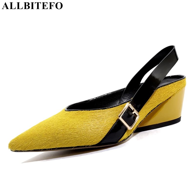 ALLBITEFO genuine leather Horse hair sexy high heels women slides mixed colors women high heel shoes