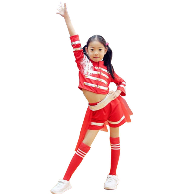 2018 new fashion red cheerleader costume dance dress for girl tassel jazz modern dance costumes kids  sc 1 st  Aliexpress & Online Shop 2018 new fashion red cheerleader costume dance dress for ...