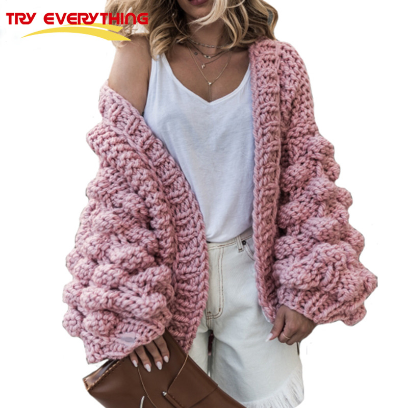 TryEverything Pink Coarse Knitted Sweater Women 2018 Winter Fashion Lantern Sleeve Cardigan Female Open Front Korea Sweater Coat