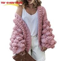 TryEverything Pink Coarse Knitted Sweater Women 2019 Winter Fashion Lantern Sleeve Cardigan Female Open Front Korea Sweater Coat