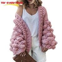 TryEverything Pink Coarse Knitted Sweater Women 2018 Winter Fashion Lantern Sleeve Cardigan Female Open Front Korea