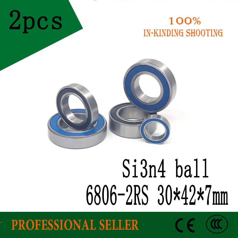 Free shipping 2pcs -2RS 30x42x7mm 61806 2RS SI3N4 balls hybrid ceramic ball bearing for BB30 RS