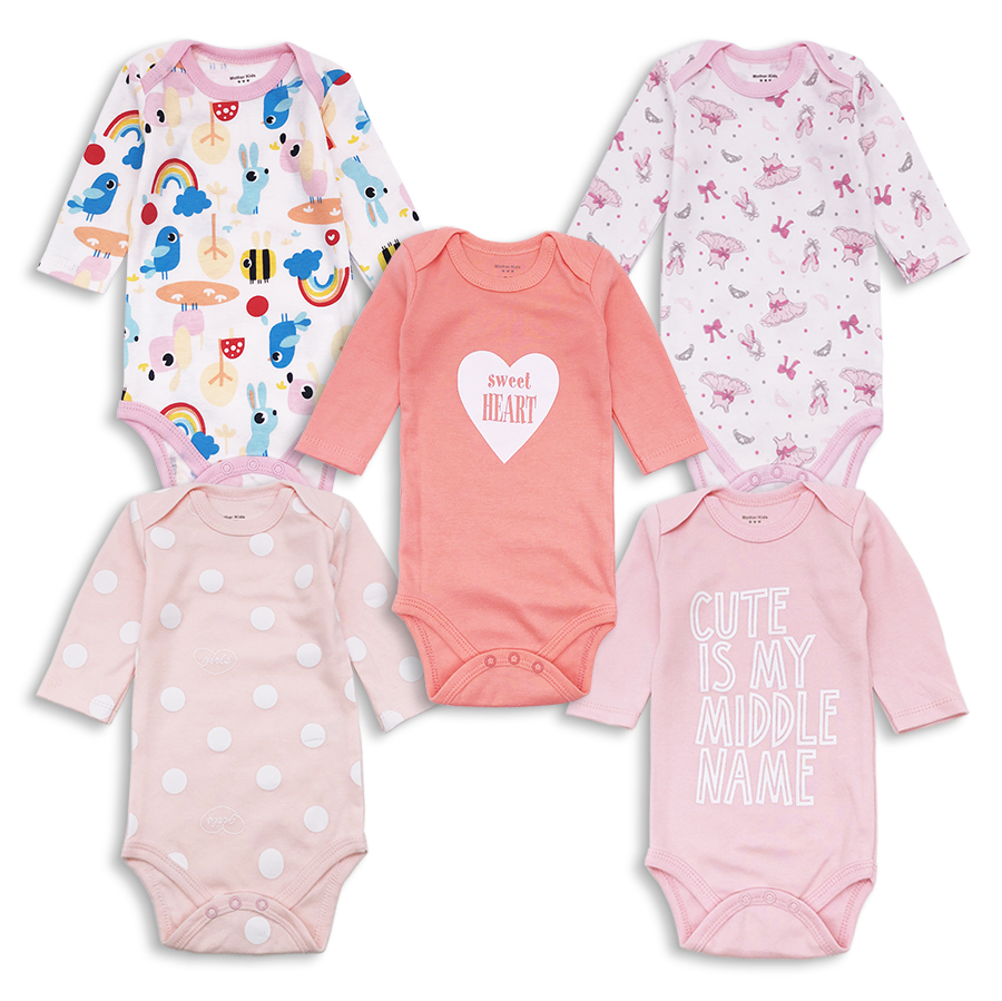 5Pcs/Lot Baby Girl Bodysuits Set Long Sleeves Body Cotton Clothes Sets Newborn Infant Clothing