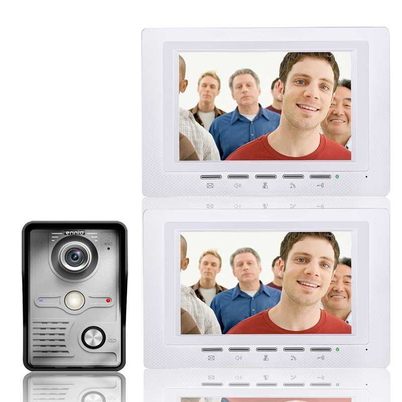 video intercom 2 apartment Door Phone Access Control Doorbell Intercom System Kit 1 camera+2 monitor IR Night Vision 817MKW12 7 color video door phone intercom system 1 monitor doorbell 2 camera intercom kit ir night vision camera for apartment 816a21