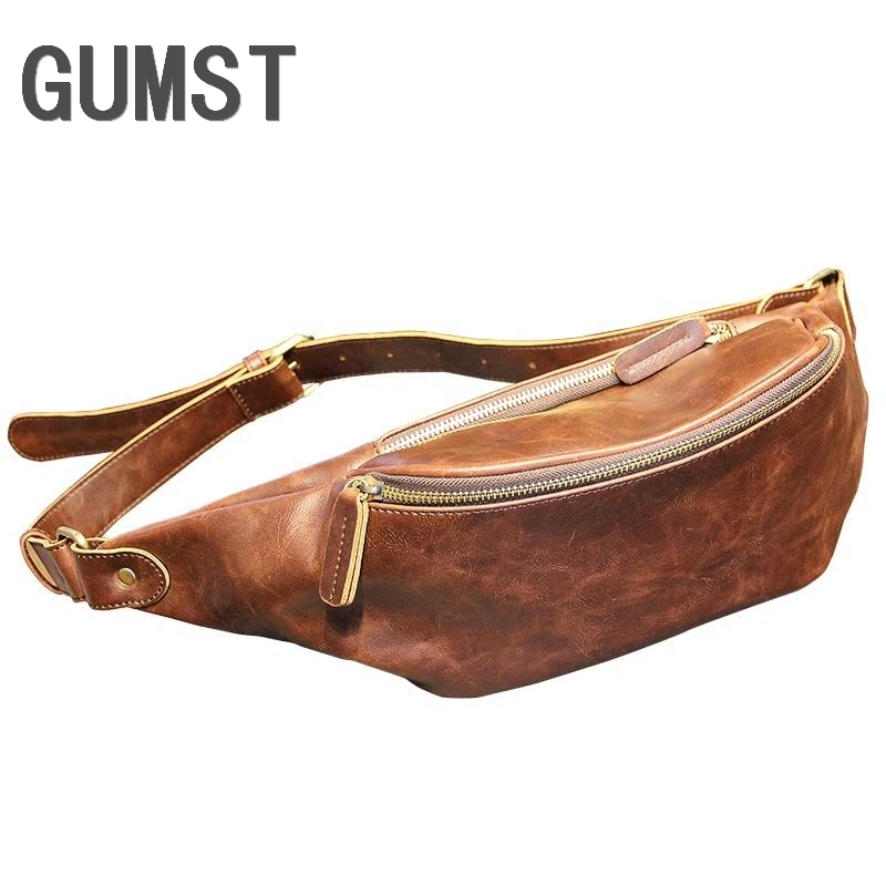 Vintage Waist Bags Men's Casual Waist Pack Purse Mobile Phone Case For Men's Travel Belt Wallets Leather Bags Chest Pack