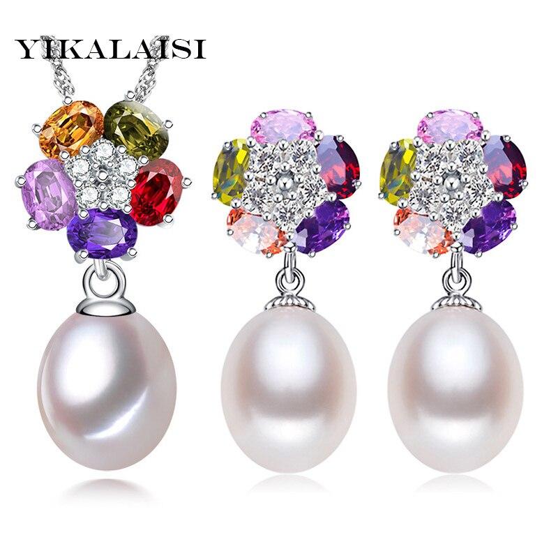 Humor Yikalaisi 2017 Halskette 8-9mm Perle Schmuck Sets 925 Sterling Silber Natürliche Perlen Unteren Halskette Ohrringe Anhänger Für Frauen