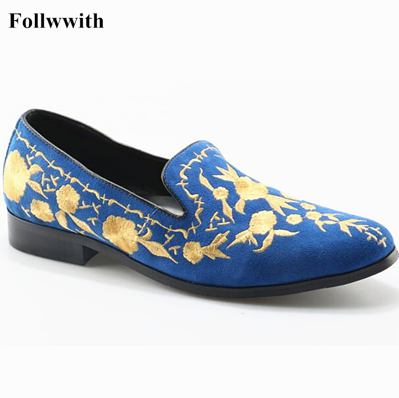 New Luxury Gold Embroidery Flowers Suede Slip On Men Loafers Pointed Toe Casual Shoes Zapatos Mujer Men Shoes sweet women high quality bowtie pointed toe flock flat shoes women casual summer ladies slip on casual zapatos mujer bt123