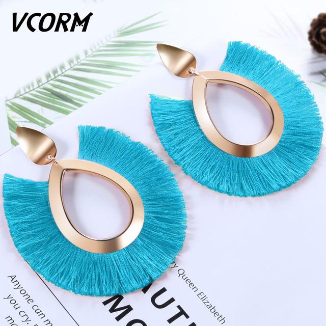 VCORM Bohemian Tassel Drop Earrings For Women Lady Female Fashion Statement Gold Large Fringe Big Femme Earring 2019 Jewelry