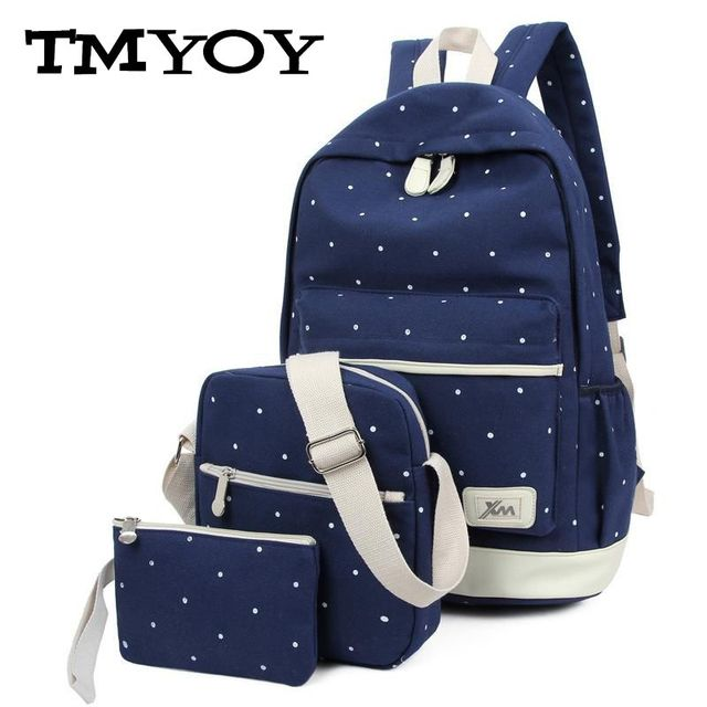 TMYOY 3 pcs set 2017 Canvas School Backpack for Grils Teenage New Casual Women Travel Backpack bags Dot laptop Bag female HC5045