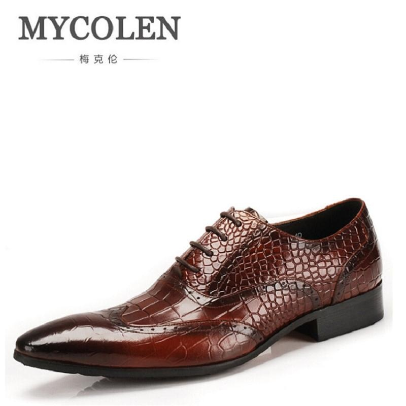 MYCOLEN 2018 Ltalian Luxury Designer Formal Mens Dress Shoes Crocodile Genuine Leather Black Basic Flats For Men Wedding Office choudory summer dress crocodile skin shoes men breathable prom shoes full grain leather pointy mens formal shoes shoe lasts