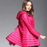 Fashionable Coat Jacket Women's Hooded Parka Coat Female Spring Jacket Coat Quilted Coat Middle Long Style Slim Duck Down Cloth