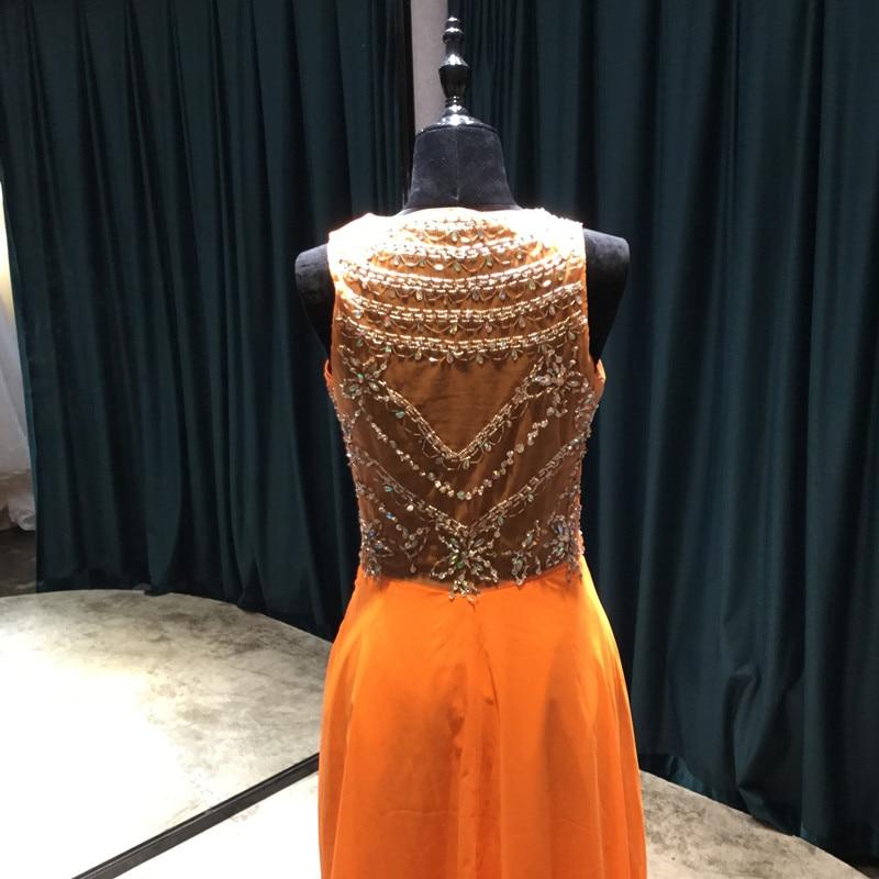 Long A-line Șifon rochii de domnisoare de onoare 2017 Scoop Mănuși - Rochii de seară de nuntă - Fotografie 5