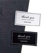 100 unids/lote gracias etiqueta Vintage blanco y negro marca Kraft pegatinas DIY hecho a mano para regalo pastel para hornear de etiqueta