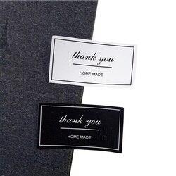 100 Pcs/lot Thank You Label Sticker Vintage Black&White Kraft Label Stickers DIY Hand Made For Gift Cake Baking Sealing Hang Tag