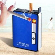 Портативный металлический ветрозащитный чехол для сигарет USB зарядка электрическая зажигалка, автоматическая сигарета дымовая коробка, мужские гаджеты YH033