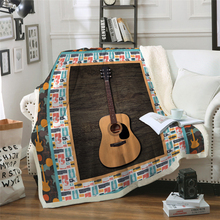 3D Guitar Blanket Plush Throw Blanket for Beds Sofa Noble Bedding Sherpa Blanket