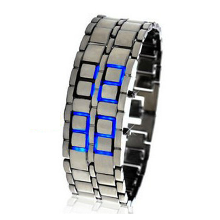 Splendid Lava Black Stainless Steel Lava RED LED Digital Bracelet Watch Blue stylish 8 led blue light digit stainless steel bracelet wrist watch black 1 cr2016