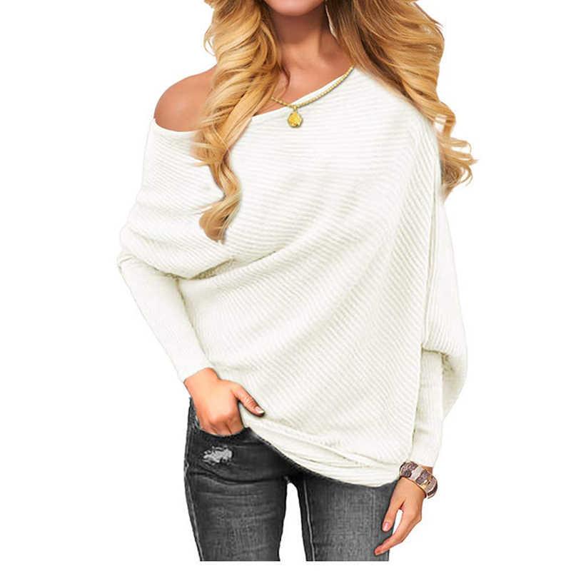 Свитер женский Harajuku Повседневный свободный однотонный длинный рукав вязаный свитер сексуальный с открытыми плечами рукав летучая мышь пуловеры джемпер 3XL