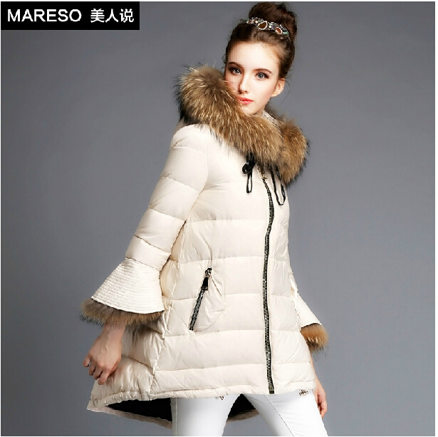 Free Shipping Brand Fashion Korea Parkas Coat Real Fur Hood Warm ...