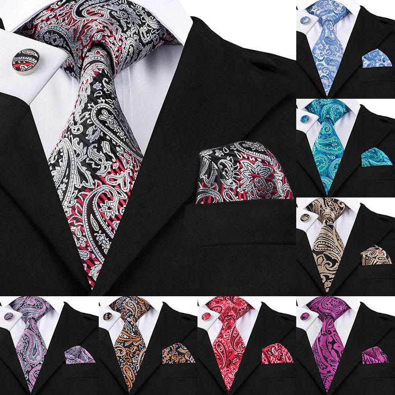SN-359 Lichtgrau Rot Schwarz Paisley Krawatte Hanky Manschettenknöpfe Sets männer 100% Silk Krawatten für männer Formale Hochzeit Bräutigam