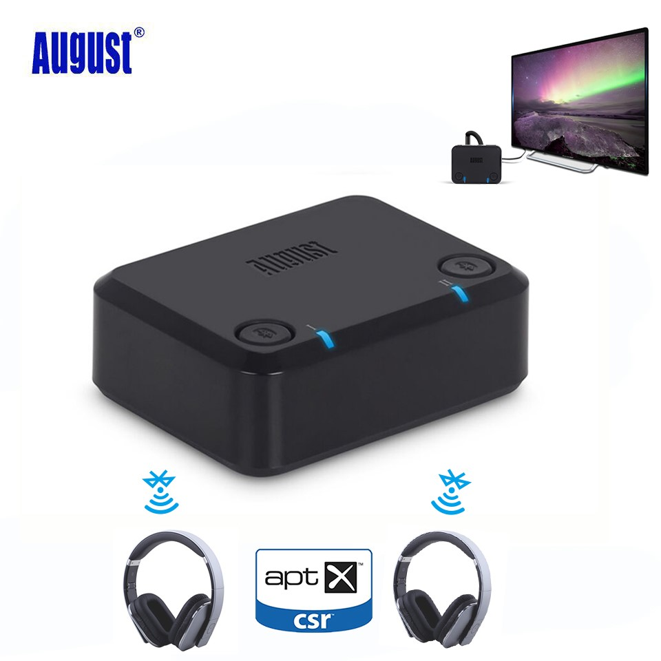 August MR270 aptX Bluetooth Transmitter for TV PC Optical RAC&3.5mm Jack Wireless Stereo Audio Adapter for Headphones Dual Link
