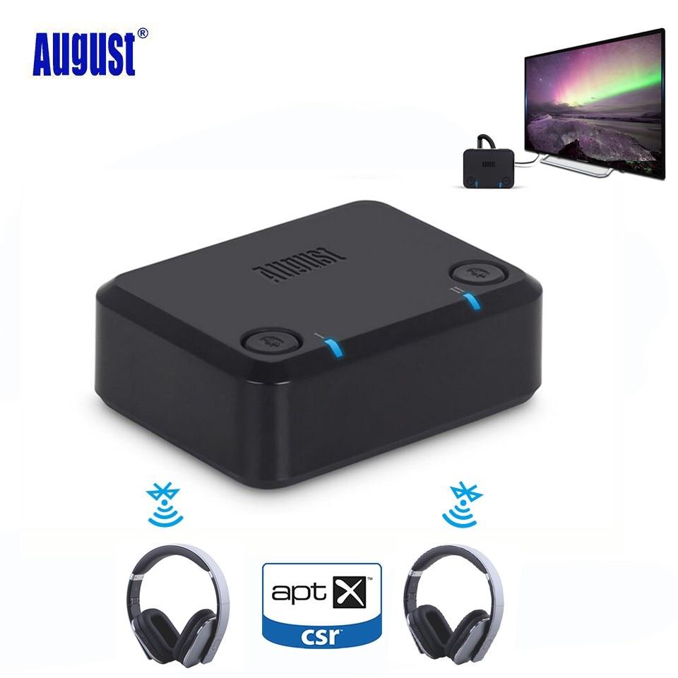 De agosto de MR270 aptX transmisor de Audio Bluetooth para PC TV óptico 3,5mm Aux RCA inalámbrico adaptador de Audio para auriculares Dual enlace
