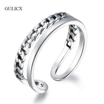 40b7330c23b4 GULICX moda dos capas mujeres dedo anillos Real 925 abrir anillos femeninos anillos  de boda joyería de compromiso GLRT0254
