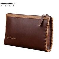 HANSBAND 2017 New Business Genuine Leather Men S Clutch Bag Handbags Large Capacity Long Cowhide Men