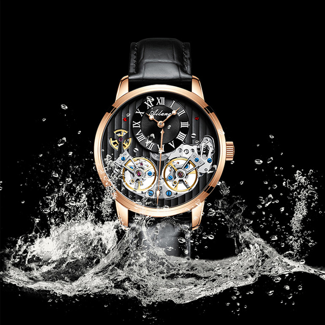 AILANG Double Tourbillon Men Watches Leather Wrist Mechanical Watches Automatic Flying Tourbillon Watches Waterproof 50M Relogio