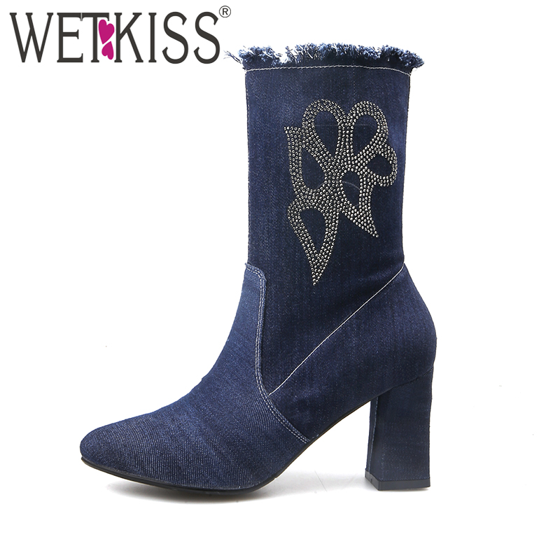 WETKISS 2018 Brand Crystal Denim Ankle Boots Women Thick High Heels Zipper Shoes Woman Winter Boots Pointed toe Denim Shoes wetkiss genuine leather ankle boots women patent square toe zipper female boot autumn thick high heels winter boots woman shoes