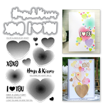 Eastshape Hug Kiss Letter Metal Cutting Dies and Heart Stamps I Love You Word Scrapbooking New Die Cuts Card Album Making Craft