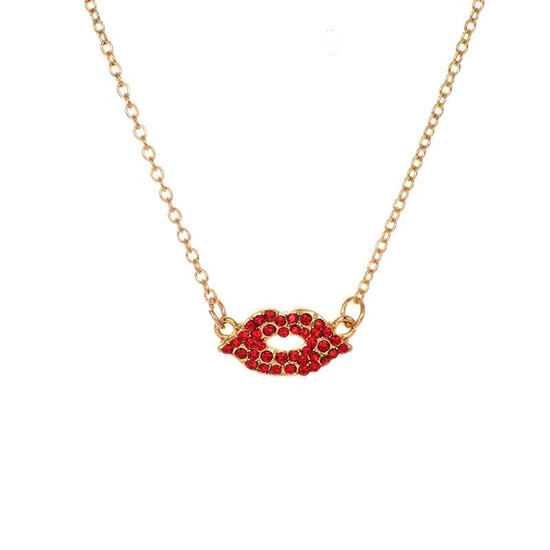 Модное ожерелье с подвеской для глаз для женщин, ожерелье с кристаллами, сексуальные персонализированные чокеры, короткая цепочка на ключицы, ювелирные изделия - Окраска металла: red mouth