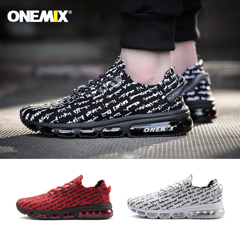 Onemix men 39 s running shoes women sneakers lightweight knit mesh vamp sneakers damping cushion for outdoor jogging walking shoes in Running Shoes from Sports amp Entertainment