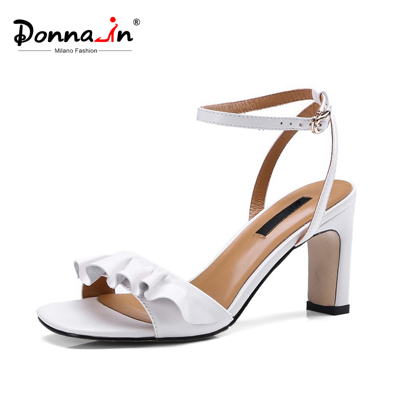 Donna in High Heels Sandals Women Thick Heels Real Leather Summer Shoes with Buckle Strap Black