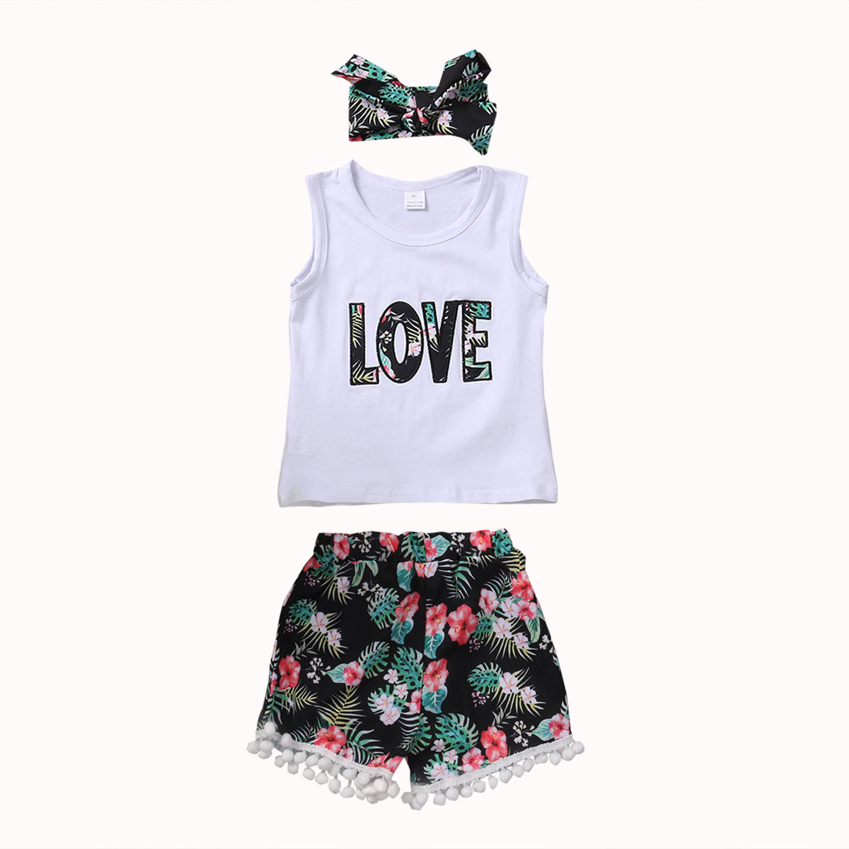 Cotton Newborn Baby Girls LOVE Tops T-shirt+Floral Pants + Headand 3Pcs Summer Outfits Clothes Set 1-6T 3pcs set newborn infant baby boy girl clothes 2017 summer short sleeve leopard floral romper bodysuit headband shoes outfits